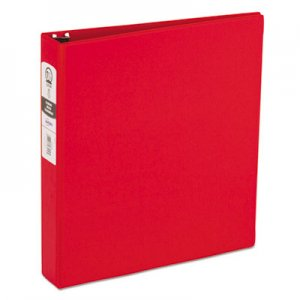 "Avery Economy Non-View Binder with Round Rings, 3 Rings, 1.5"" Capacity, 11 x 8.5, Red AVE03410 03410"