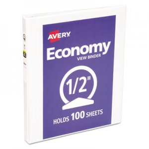 "Avery Economy View Binder with Round Rings , 3 Rings, 0.5"" Capacity, 11 x 8.5, White AVE05706 05706"