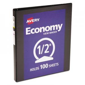 "Avery Economy View Binder with Round Rings , 3 Rings, 0.5"" Capacity, 11 x 8.5, Black AVE05705 05705"