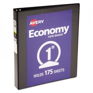 "Avery Economy View Binder w/Round Rings, 11 x 8 1/2, 1"" Cap, Black AVE05710 05710"