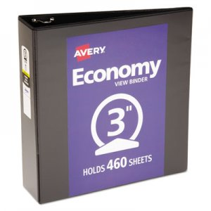"Avery Economy View Binder w/Round Rings, 11 x 8 1/2, 3"" Cap, Black AVE05740 05740"