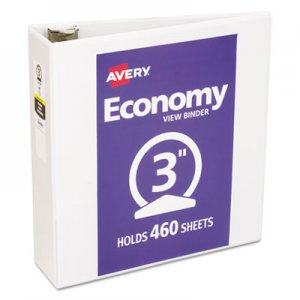 "Avery Economy View Binder w/Round Rings, 11 x 8 1/2, 3"" Cap, White AVE05741 05741"