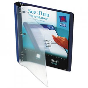 "Avery See-Thru View Binder with Round Rings, 3 Rings, 0.5"" Capacity, 11 x 8.5, Blue AVE10801 10801"