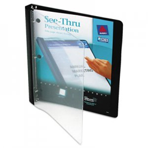 "Avery See-Thru View Binder with Round Rings, 3 Rings, 0.5"" Capacity, 11 x 8.5, Black AVE10802 10802"