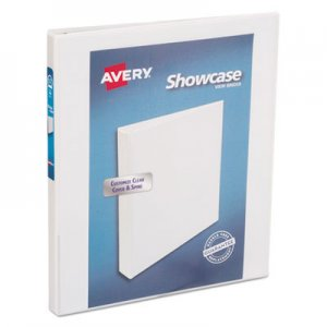 "Avery Showcase Economy View Binder with Round Rings, 3 Rings, 0.5"" Capacity, 11 x 8.5, White AVE19551 19551"
