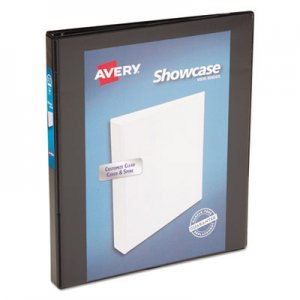"Avery Showcase Economy View Binder w/Round Rings, 11 x 8 1/2, 1/2"" Cap, Black AVE19550 19550"