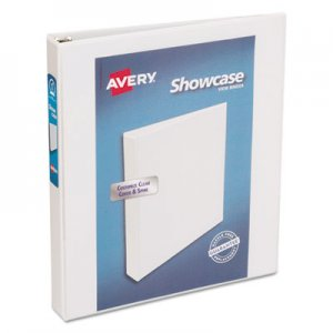"Avery Showcase Economy View Binder with Round Rings, 3 Rings, 1"" Capacity, 11 x 8.5, White AVE19601 19601"