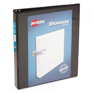 "Avery Showcase Economy View Binder with Round Rings, 3 Rings, 1"" Capacity, 11 x 8.5, Black AVE19600 19600"