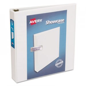 "Avery Showcase Economy View Binder w/Round Rings, 11 x 8 1/2, 1 1/2"" Cap, White AVE19651 19651"