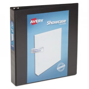 "Avery Showcase Economy View Binder w/Round Rings, 11 x 8 1/2, 1 1/2"" Cap, Black AVE19650 19650"