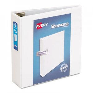 "Avery Showcase Economy View Binder with Round Rings, 3 Rings, 3"" Capacity, 11 x 8.5, White AVE19751 19751"