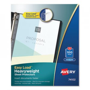 Avery Top-Load Poly Sheet Protectors, Heavy Gauge, Letter, Nonglare, 100/Box AVE74102 74102