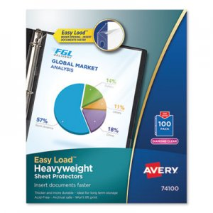 Avery Top-Load Poly Sheet Protectors, Heavy Gauge, Letter, Diamond Clear, 100/Box AVE74100 74100