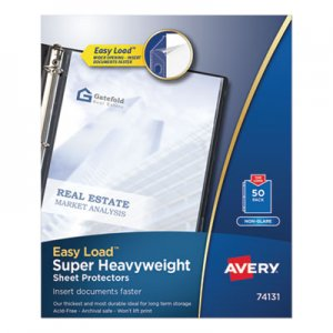 Avery Top-Load Poly Sheet Protectors, Super Heavy Gauge, Letter, Nonglare, 50/Box AVE74131 74131
