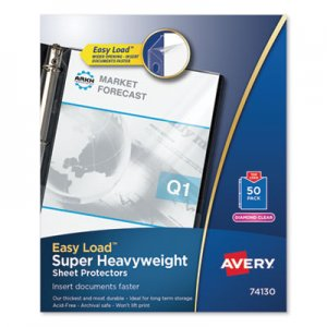 Avery Top-Load Poly Sheet Protector, Super Heavy Gauge, Letter, Diamond Clear, 50/Box AVE74130 74130