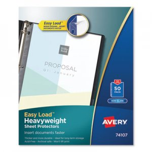 Avery Top-Load Poly Sheet Protectors, Heavy Gauge, Letter, Nonglare, 50/Box AVE74107 74107