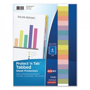 Avery Protect 'n Tab Top-Load Clear Sheet Protectors w/Eight Tabs, Letter AVE74161 74161