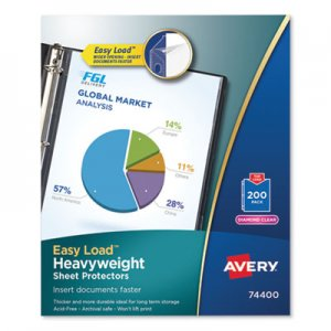 Avery Top-Load Poly Sheet Protectors, Heavy, Letter, Diamond Clear, 200/Box AVE74400 74400