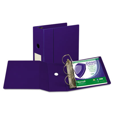 "Samsill Clean Touch Locking D-Ring Reference Binder, Antimicrobial, 5"" Cap, Blue SAM16302 16302"