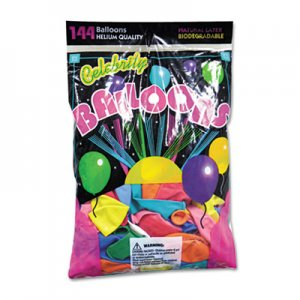 Tablemate Helium Quality Latex Balloons, 12 Assorted Colors, 144/Pack TBL1200 1200