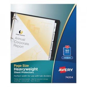 Avery Top-Load Poly Three-Hole Sheet Protectors, Non-Glare, Letter, 50/Box AVE74204 74204