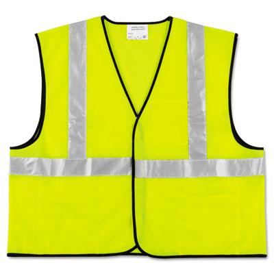 MCR Safety Class 2 Safety Vest, Fluorescent Lime w/Silver Stripe, Polyester, 2X VCL2SLXL2 CRWVCL2SLXL2