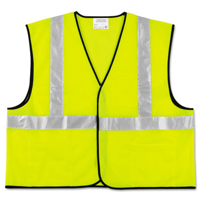 MCR Safety Class 2 Safety Vest, Fluorescent Lime w/Silver Stripe, Polyester, Large VCL2SLL CRWVCL2SLL