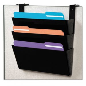 deflecto DocuPocket Stackable Three-Pocket Partition Wall File, Letter, 13 x 4 x 7, Black DEF73504 73504