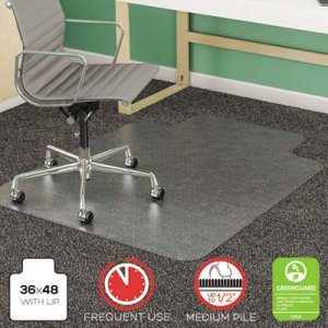 deflecto SuperMat Frequent Use Chair Mat, Med Pile Carpet, Flat, 36 x 48, Lipped, Clear DEFCM14113 CM14113