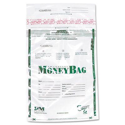 PM Company Securit Plastic Money Bags, Tamper Evident, 9 x 12, Clear, 50/Pack PMC58019 58019