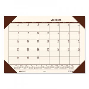 House of Doolittle Recycled EcoTones Academic Desk Pad Calendar, 18.5 x 13, Brown Corners, 2020-2021 HOD012541 0125-41