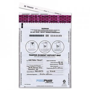 MMF Industries FREEZFraud Tamper-Evident Deposit Bags, 9 x 12, White, 100/Box MMF236210306 236210306