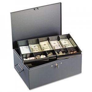 SteelMaster Extra Large Cash Box with Handles, Key Lock, Gray MMF221F15TGRA 221F15TGRA