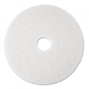 "3M Super Polish Floor Pad 4100, 13"" Diameter, White, 5/Carton MMM08477 4100"