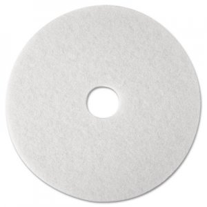 "3M Super Polish Floor Pad 4100, 12"" Diameter, White, 5/Carton MMM08476 4100"