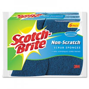 Scotch-Brite Non-Scratch Multi-Purpose Scrub Sponge, 4 2/5 x 2 3/5, Blue, 6/Pack MMM526 526