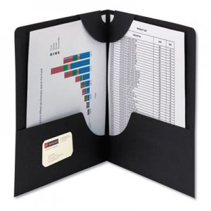 Smead Lockit Two-Pocket Folder, Textured Paper, 11 x 8 1/2, Black, 25/Box SMD87981 87981
