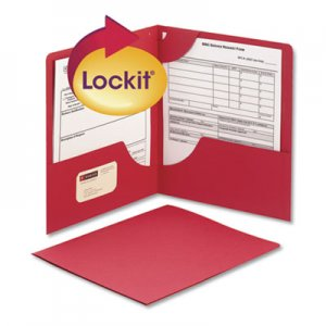 Smead Lockit Two-Pocket Folder, Textured Paper, 11 x 8 1/2, Red, 25/Box SMD87980 87980