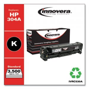 Innovera Remanufactured Black Toner, Replacement for HP 304A (CC530A), 3,500 Page-Yield IVRC530A