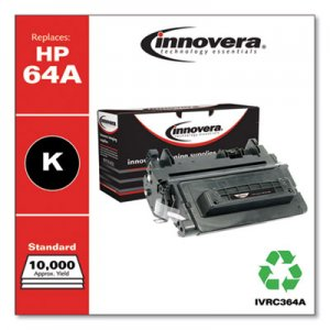Innovera Remanufactured Black Toner Cartridge, Replacement for HP 64A (CC364A), 10,000 Page-Yield IVRC364A