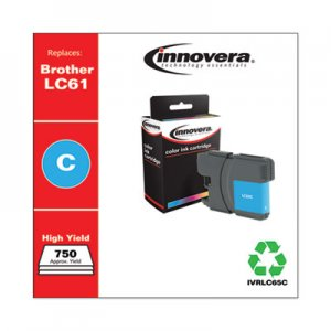 Innovera Remanufactured Cyan High-Yield Ink, Replacement for Brother LC65C, 750 Page-Yield IVRLC65C