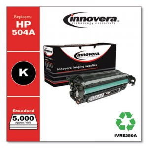 Innovera Remanufactured Black Toner, Replacement for HP 504A (CE250A), 5,000 Page-Yield IVRE250A