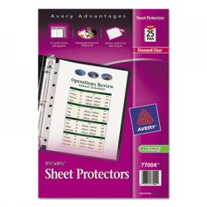 Avery Top Load Sheet Protector, Heavyweight, 8 1/2 x 5 1/2, Clear, 25/Pack AVE77004 77004