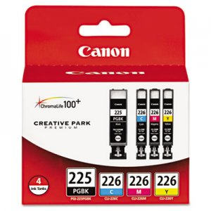 Canon (PGI-225, CLI-226) Ink, Black/Cyan/Magenta/Yellow, 4/PK CNM4530B008AA 4530B008