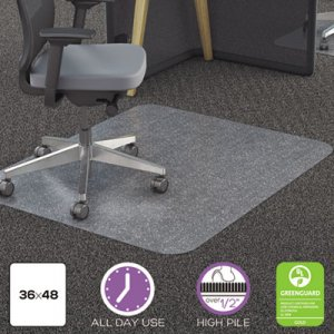 deflecto Polycarbonate All Day Use Chair Mat - All Carpet Types, 36 x 48, Rectangular, Clear DEFCM11142PC CM11142PC