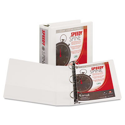 "Samsill Speedy Spine Heavy-Duty Time Saving Round Ring View Binder, 3 Rings, 3"" Capacity, 11 x 8.5, White"