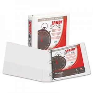 "Samsill Speedy Spine Round Ring View Binder, 11 x 8-1/2, 1-1/2"" Cap, White SAM18157C 18157C"