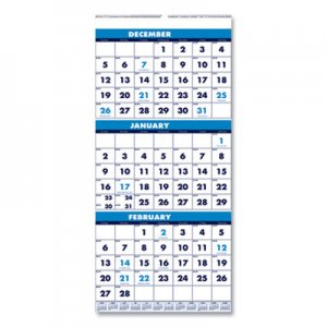 House of Doolittle Recycled Three-Month Format Wall Calendar, 8x17, 14-Month (Dec.-Jan.) 2018-2020 HOD3646 3646