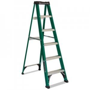 Louisville Fiberglass Step Ladder, 6 ft Working Height, 225 lbs Capacity, 5 Step, Green/Black DADFS4006 FS4006