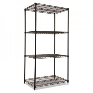 Alera NSF Certified Industrial 4-Shelf Wire Shelving Kit, 36w x 24d x 72h, Black ALESW503624BL